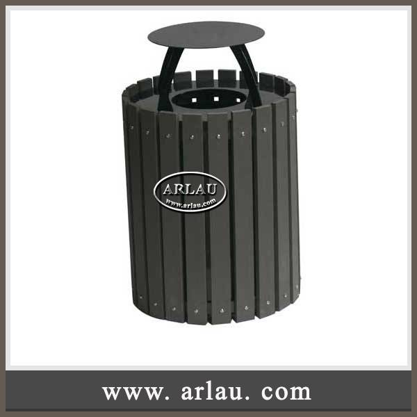 Arlau Outdoor Garden Recycle Plastic Wood Garbage Bin, WPC waste container