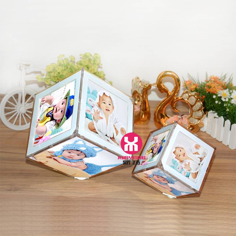 Lovely Rotating Cube Photo Frame with LED light for Promotional Gift