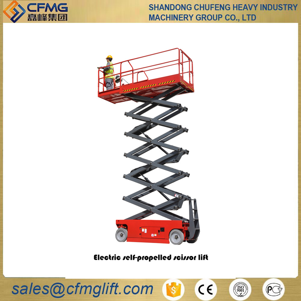 Mobile hydraulic battery powered electric outdoor scissor aerial platform