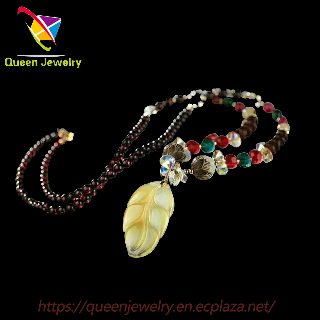 the m jewelers Handmade jade leaf Pendant Necklace with agate Chain Matching Earrings Available