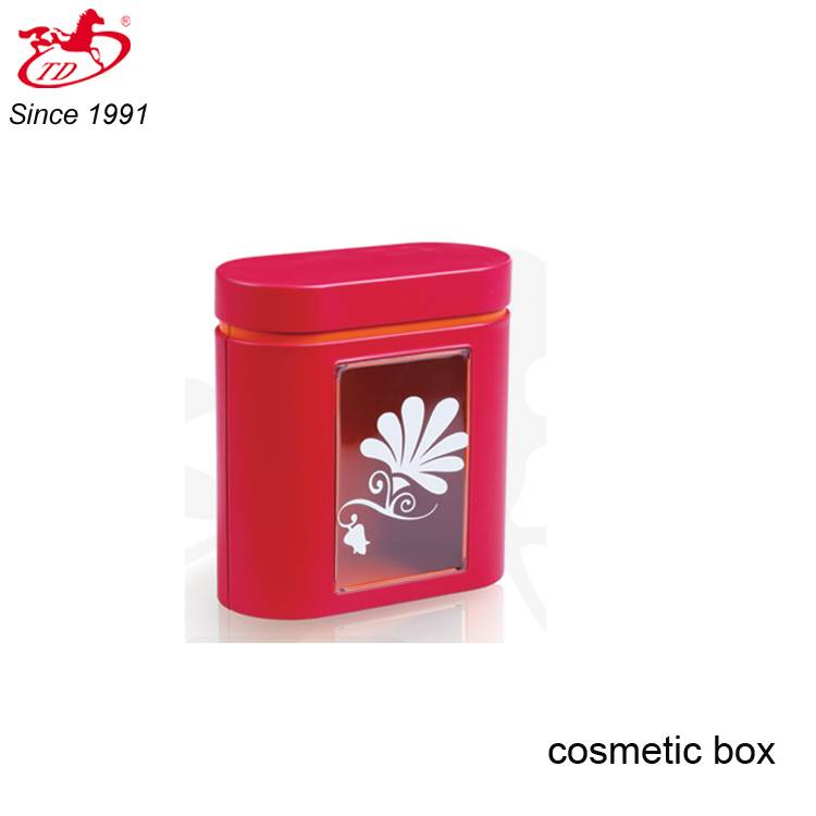 Red oval tin box with clear pvc window for cosmetic