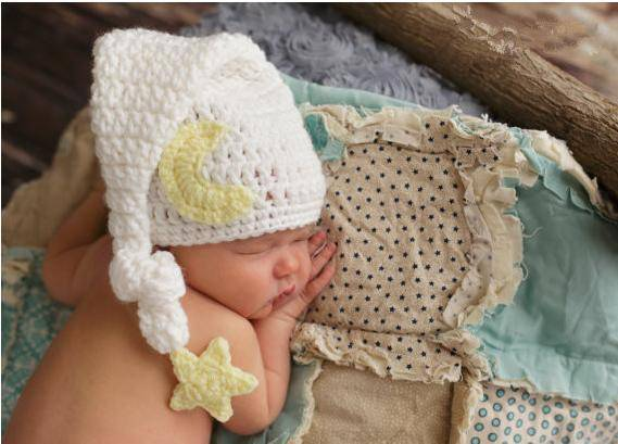 Baby Photography Prop Crochet Knit Boy Star Moon Infant Hat
