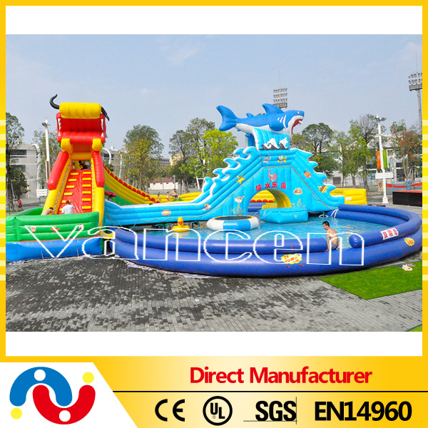 inflatable cartoon water play equipment with huge slide and pools