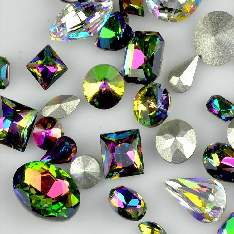 Vetrail medium glass rhinestones, coloured shaped glass crystal stones for decoration