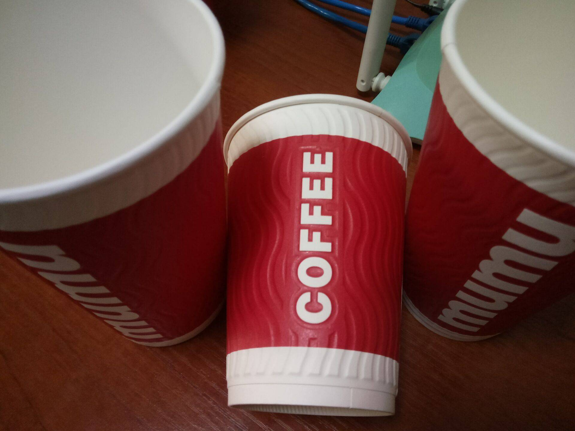 Embossed wall disposable paper cup for coffee 8-24oz