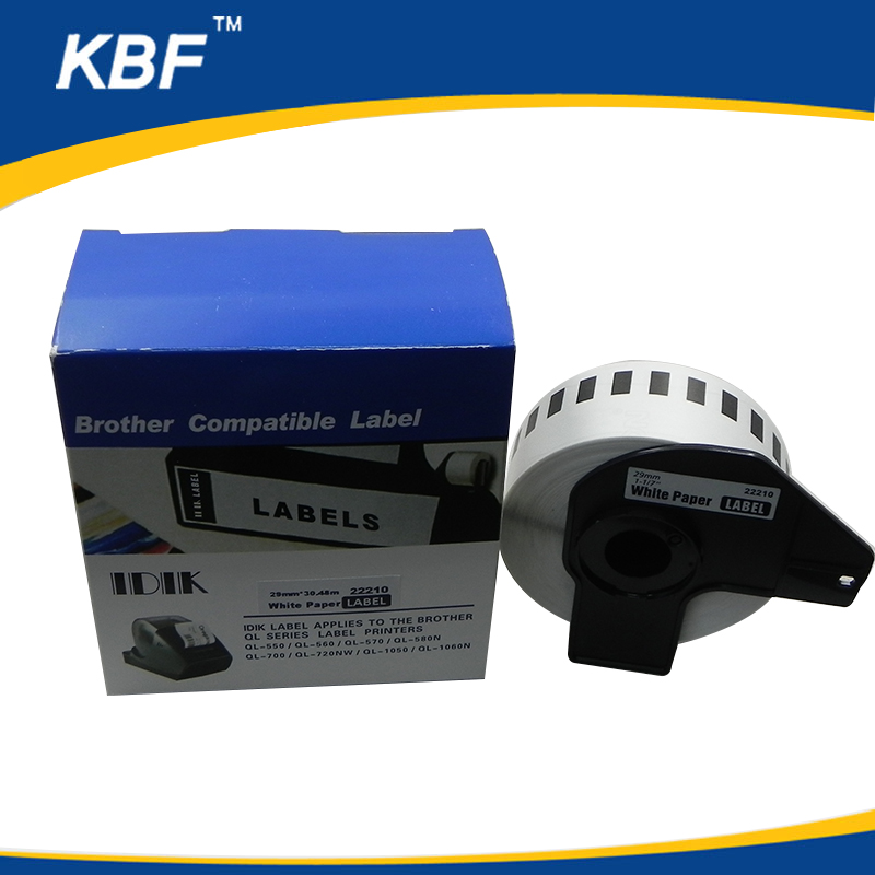 DK22210 Compatible DK continous Thermal label black on white 29mm30.48m