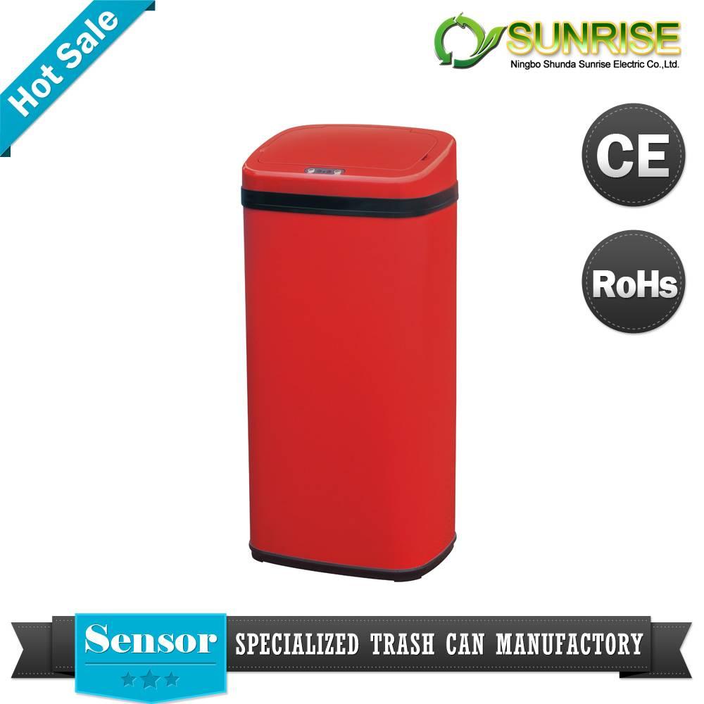 Red Color Steel Square Sensor Dustbin
