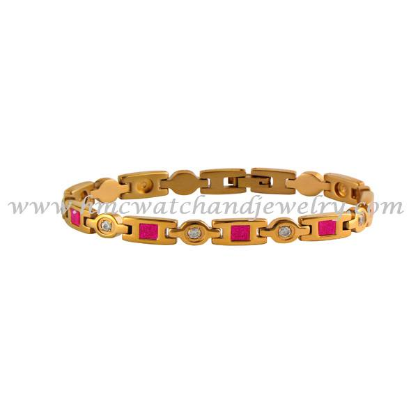 2015 HMC wholesale jewelry, rose gold plated stainless steel link bracelet inlay pink sandstone and
