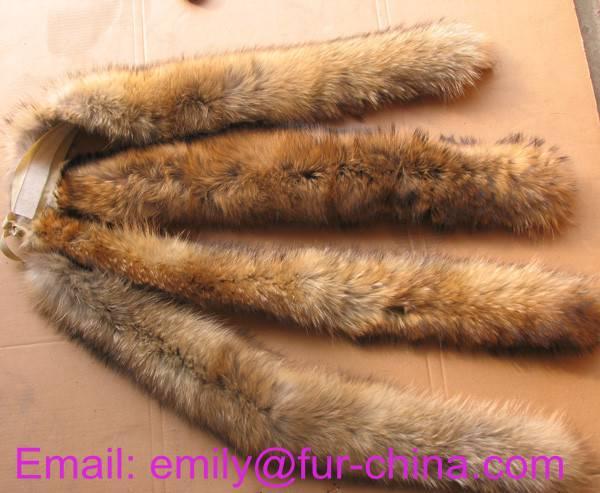 Natural Color Raccoon Fur Trimming