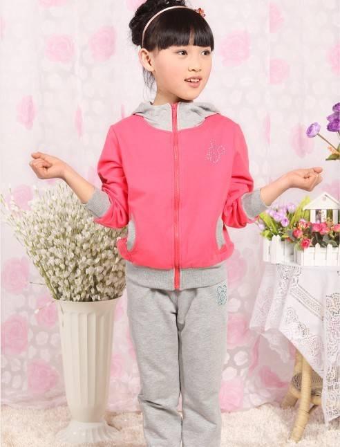 kids hoody,chidren hoodies sweatshirts set girls hoody,pink color 100% cotton ,rib details hooded