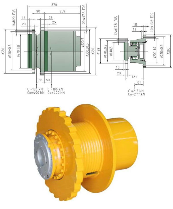 ZFT36W winch drive for construction handing equipment