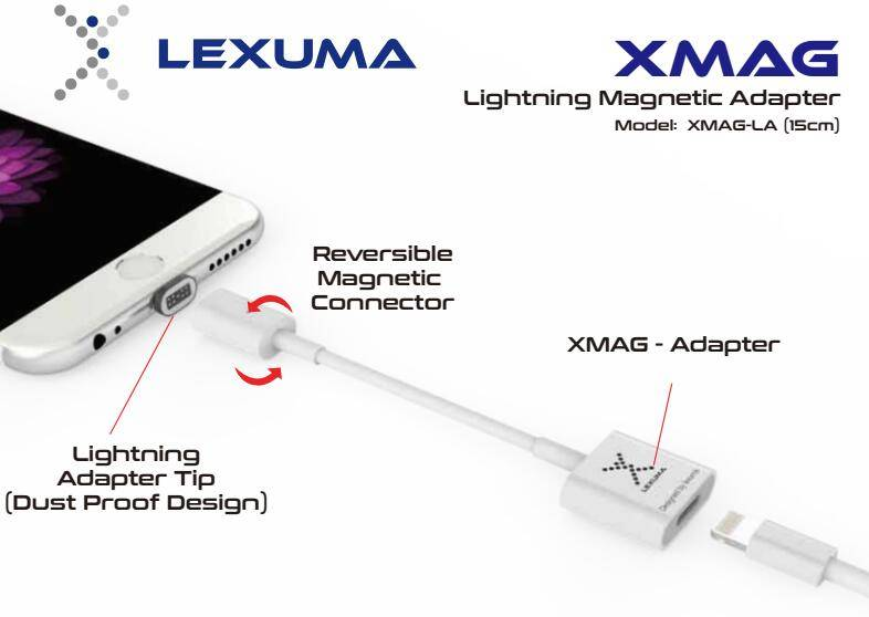 Lexuma XMAG Lightning Magnetic Adapter, Magnetic USB Charging Cable for iPhone