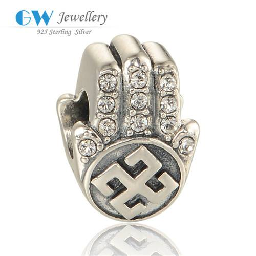 New Product 2016 Fashion Jewelry Religion Hamsa Hand Pure Silver 925 Bracelet Charms With Clear Cz