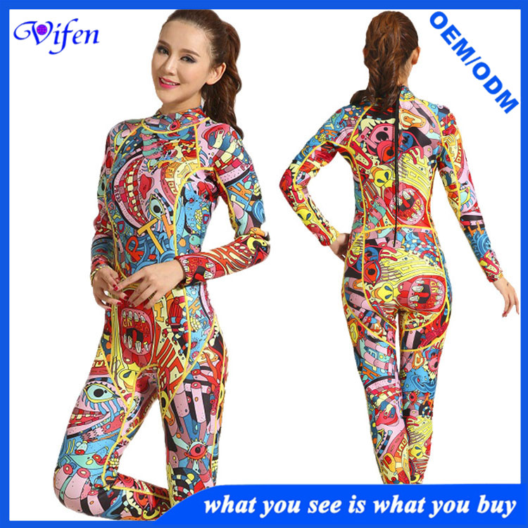 women 3mm full wetsuits pattern color high quality neoprene material elastic