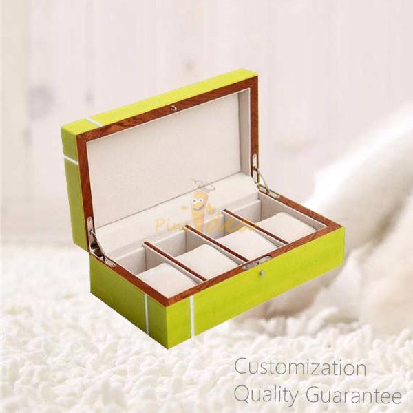 Stylish Luxury High Gloss Inlay Wooden Jewelry Storage Display Chest Box with Auto Lock
