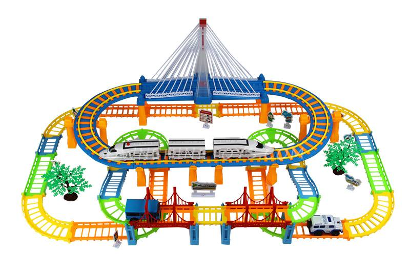 plastic cartoon slot car toy railway set toy