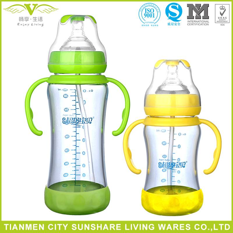 Heat Resistance High Borosilicate Glass HBG Baby Feeding Bottle With Bottm Base