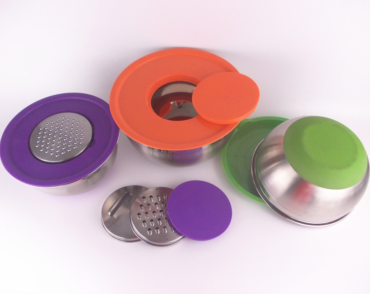 Multifunctional Online Hotsales Stainless Steel Mixing Nesting Salad Cutter Bowls Sets with Grater