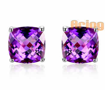 Wholesale 18k Gold Jewelry Amethyst earrings solid gold jewelry