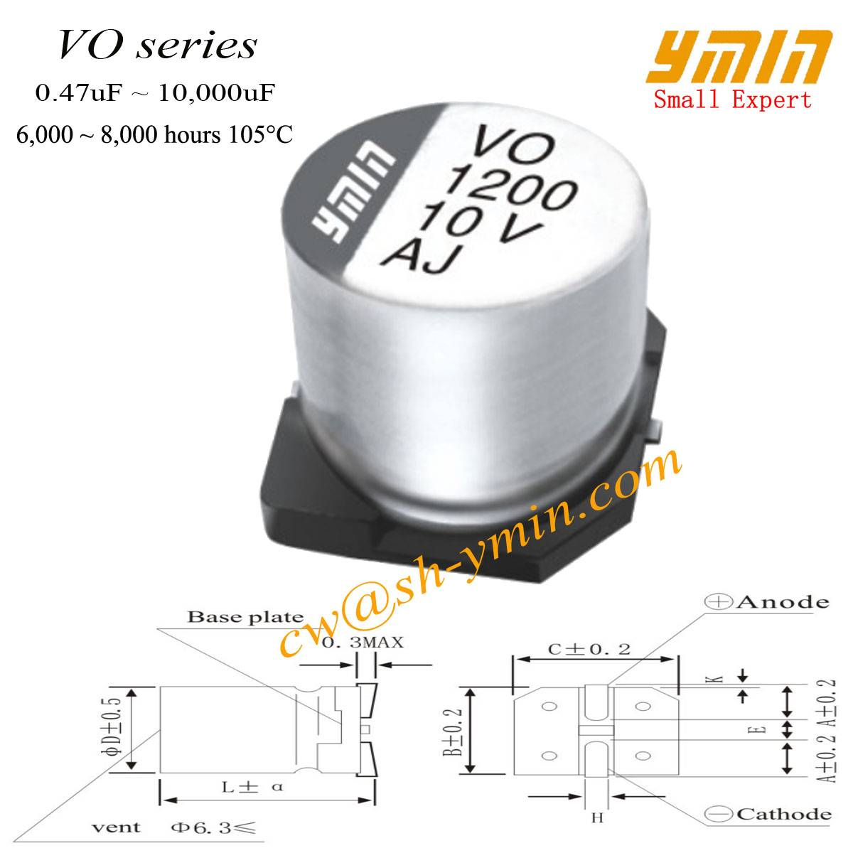 Lighting SMD Capacitor SMD Electrolytic Capacitor for General Purpose RoHS Compliant