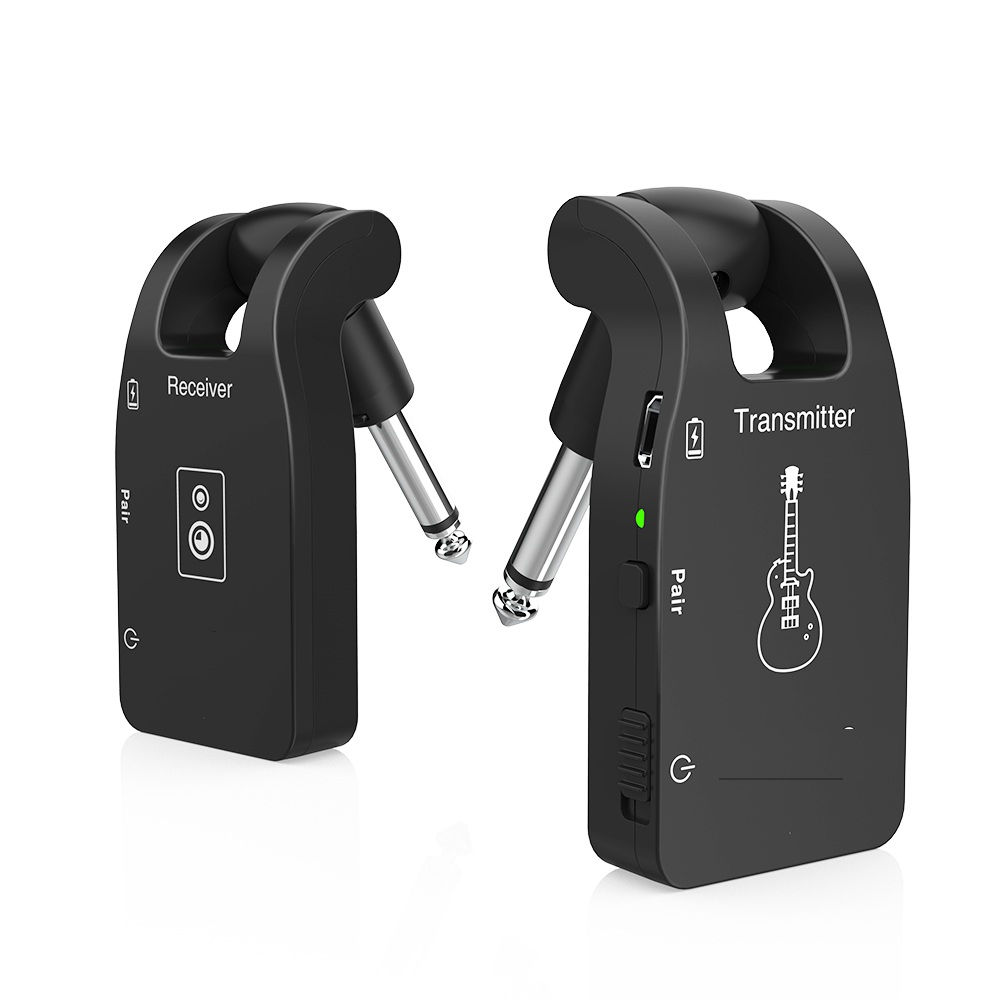 Wireless Guitar Transmitter Audio Transmitter Receiver System 2.4G Rechargeable 6