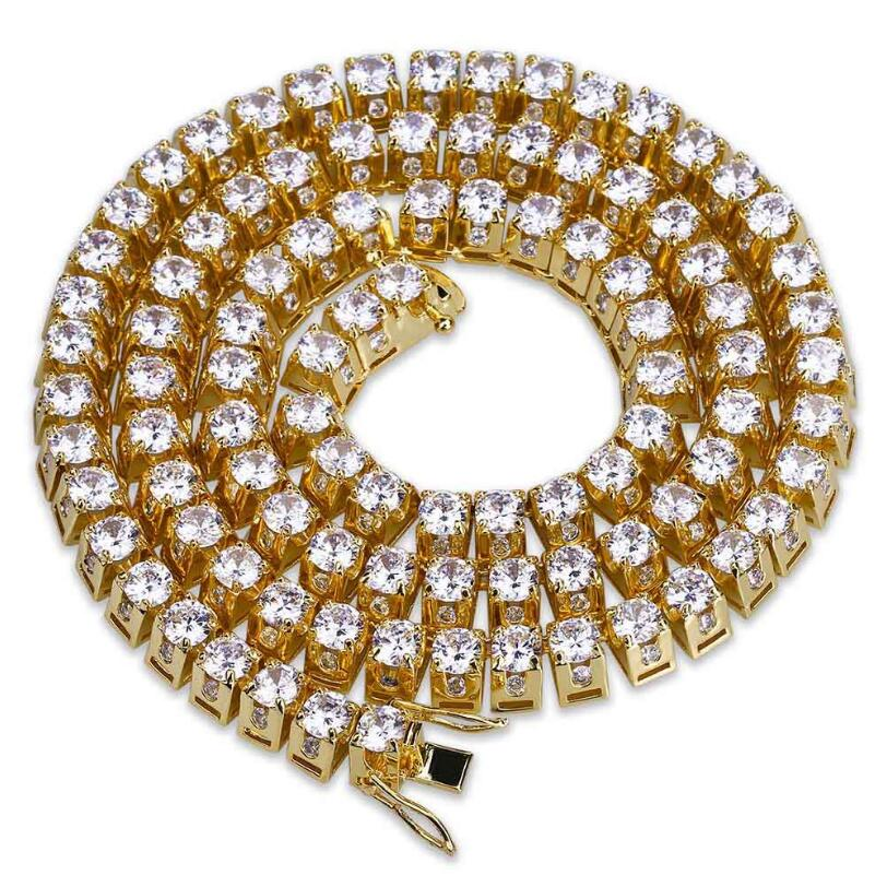 Wholesale Stainless Steel Gold/Silver Color Plated Full Iced Out Micro Pave CZ Stone Chain Necklace