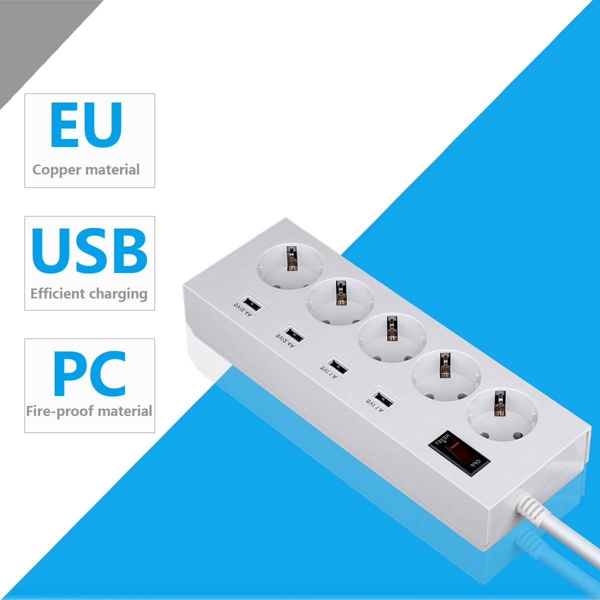 5 way multi extension cord socket strip with 4 usb port surge protector child protection
