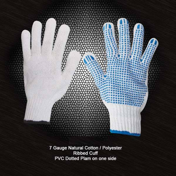 Cotton String Knit Gloves with PVC dots