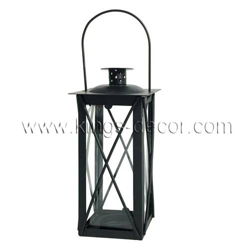 Small black wedding stagecoach metal candle lantern