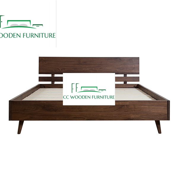 Nordic minimalist modern wood bed frame black walnut full bed frame