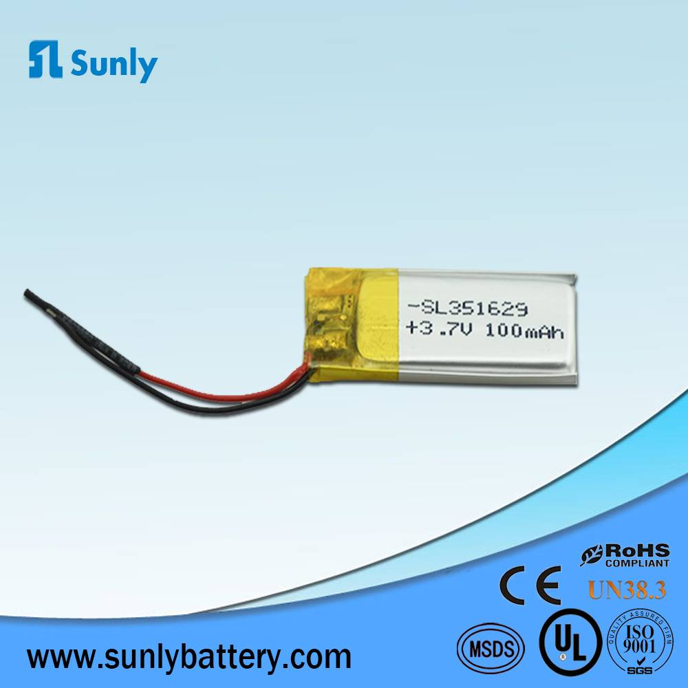rechargeable battery 3.7V 100mAh li-polymer battery