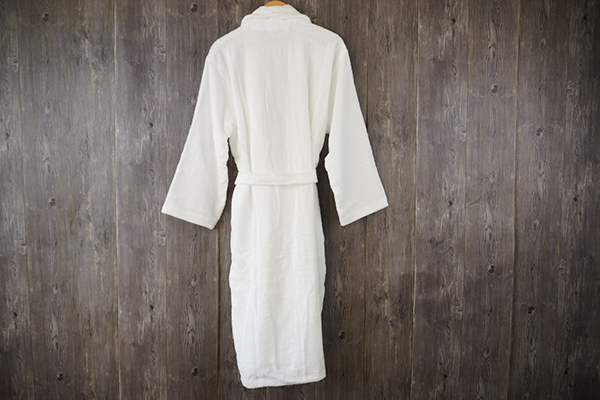 Terry 100% cotton bathrobe shawl collar white long hotel