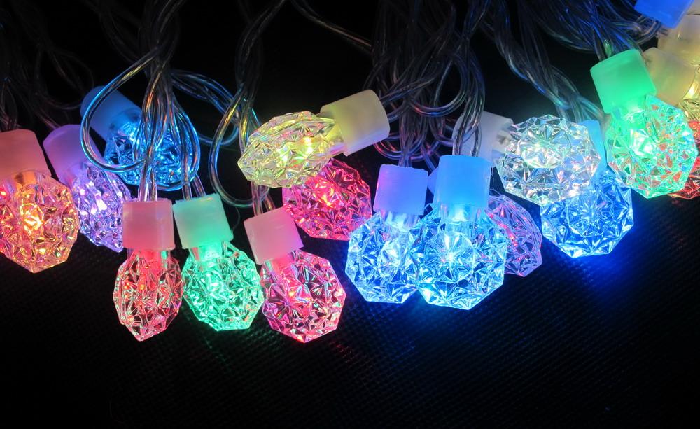 RGB diamond decoration LED string light for holiday Christmas wedding party