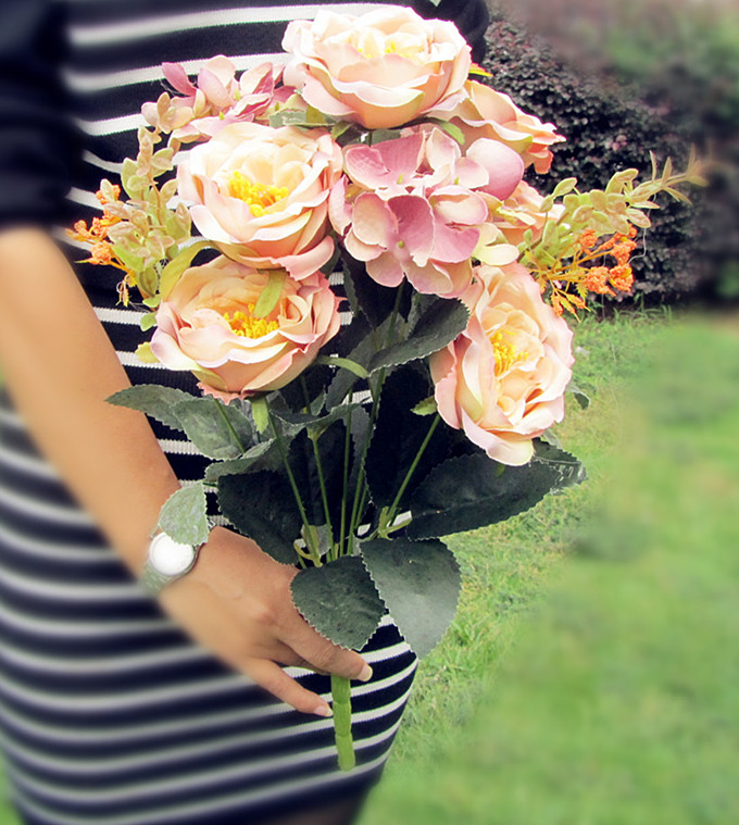 High Quality Silk flower European 1 Bouquet Artificial Flowers Peony Wedding Home Party decoration