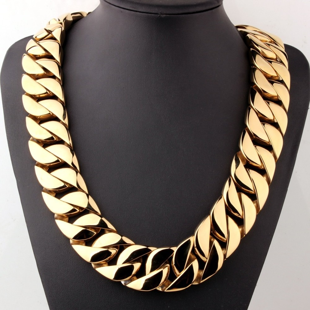 Gold Plated Solid Heavy Yellow Gold Finish 24MM 30MM Stainless Steel Miami Cuban Chain Necklaces