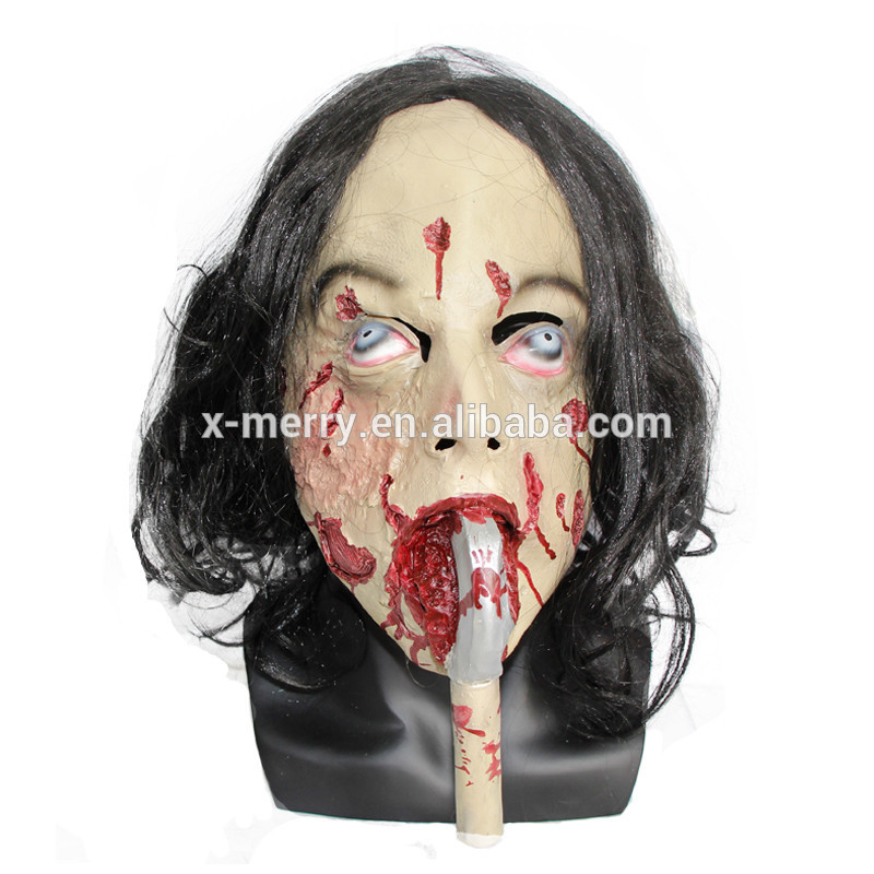 X-MERRY TOY Long Tongue Female Eco-friendly Latex Scary Halloween Ghost Masken