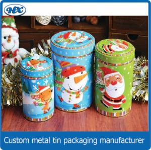 Round tin box in three sizes for the 2015 Christmad day
