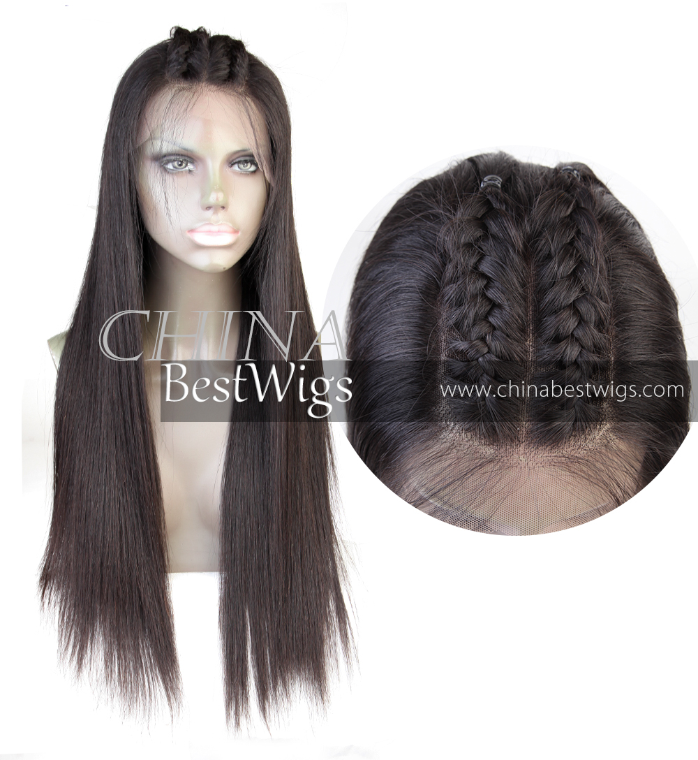 long straight deep part lace front wig