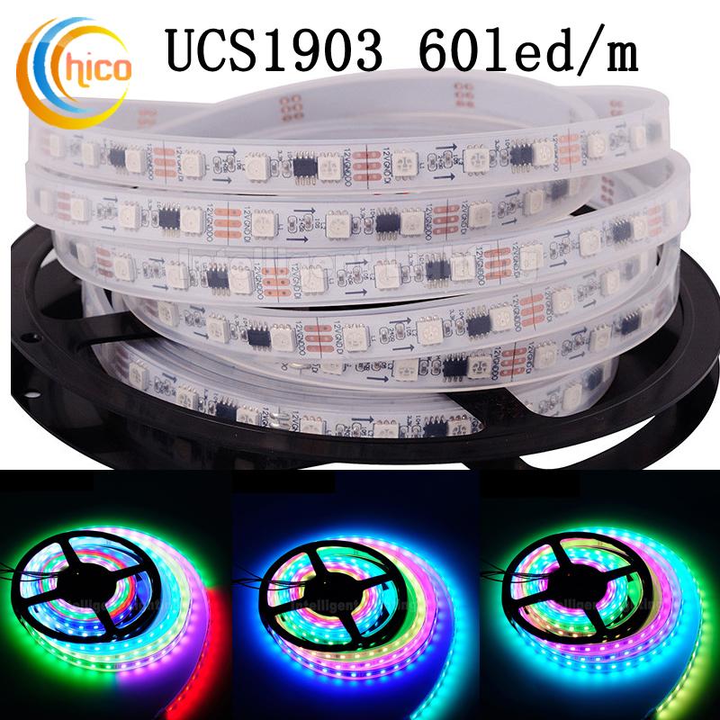 LED Strip with IC UCS1903 SM16703 30led/m 48led/m 60led/m SMD 5050 RGB led strip White/black pcb