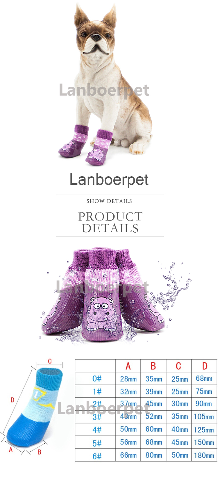 Wholesale Colourful Waterproof Pet Shoes Socks For Dogs Cats