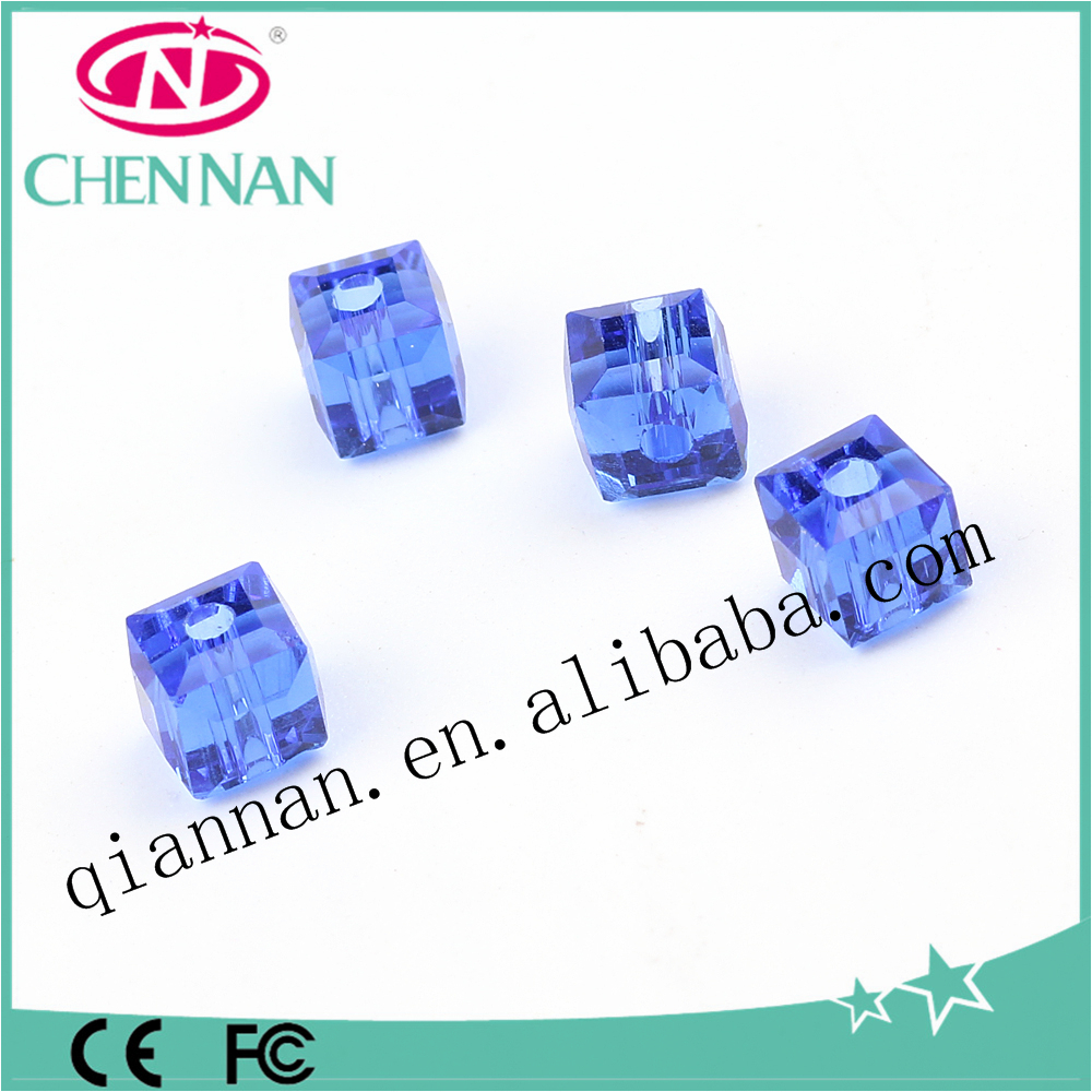 wholesale attractive blue 4-20mm crystal cube boncuk earrings beads