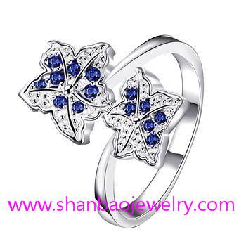 Silver Plated Costume Fashion Zircon Jewelry Women Rings