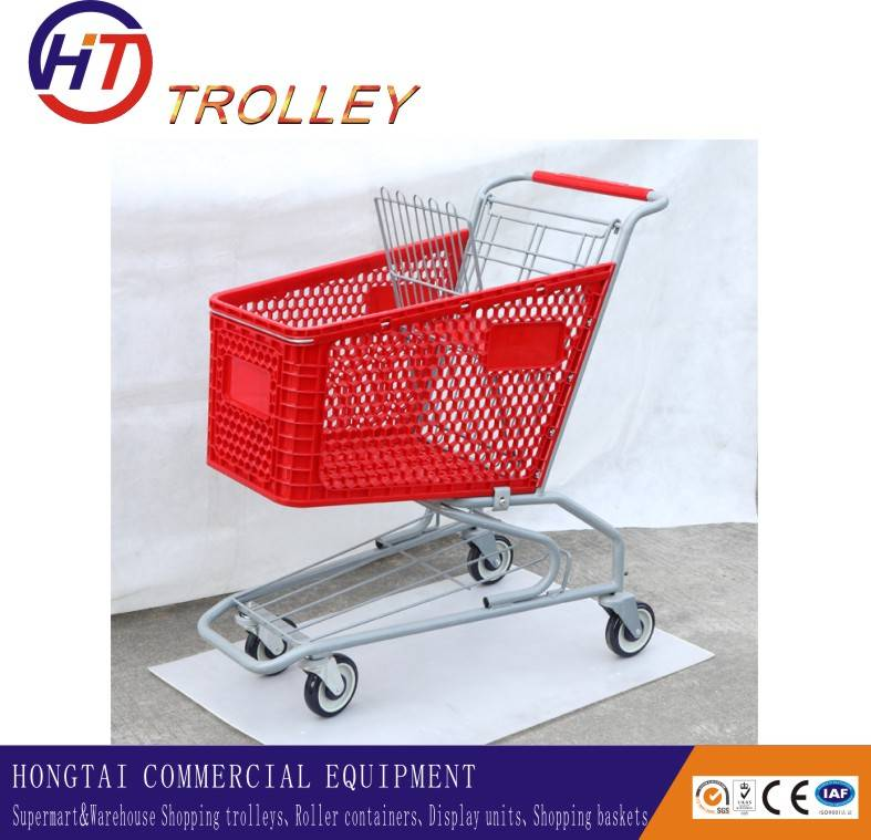 middle size plastic basket trolley supermarket shopping trolley wholesale