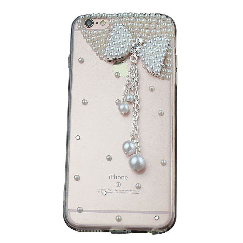 Handmade Clear Pearls Bowknot Phone Case for iPhone 6 women X/7/8plus Samsung Xiaomi Huawei