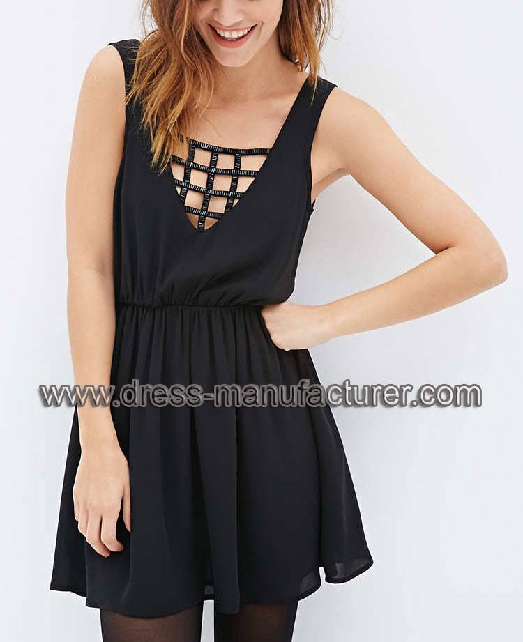2015 New Fashion Caged V-Cut Beaded Dress For Women L1900