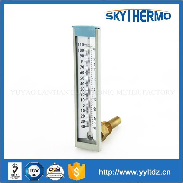 plastic case industrial 90 degree angle glass 150C aluminium thermometer