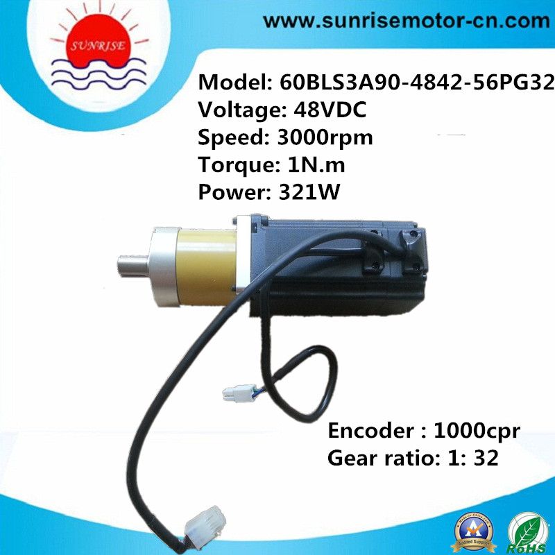 48VDC 3000rpm High Speed Brushless DC Servo Motor