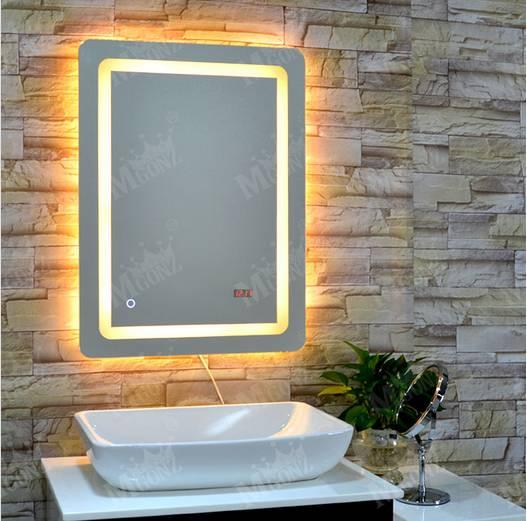 Mgonz led lighting anti-fog bathroom mirror square mirror