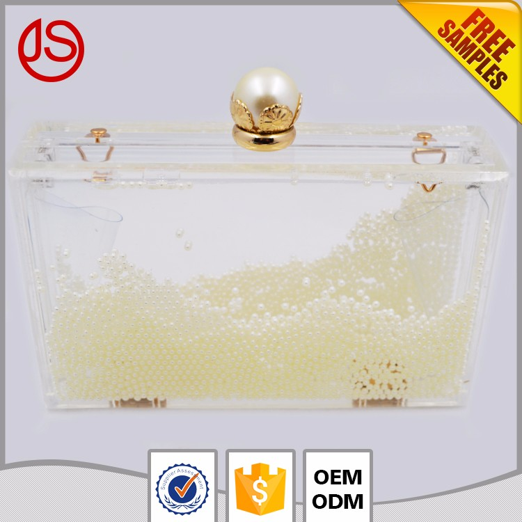 pearl luxury acrylic ladies shoe and bags suppliers liquid clutch plastic clutch bag