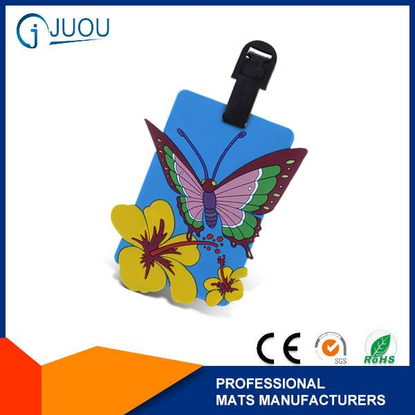 Butterfly pattern custom soft pvc luggage tag wholesale